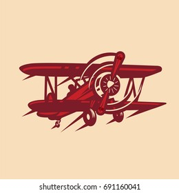 vintage, red baron plane, vector