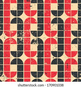 Vintage red and black geometric seamless pattern, vector abstract background.