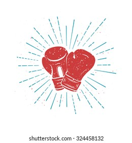 Vintage Red Boxing Gloves with Blue rays. Template for t-shirt, postcard, cover or your art works