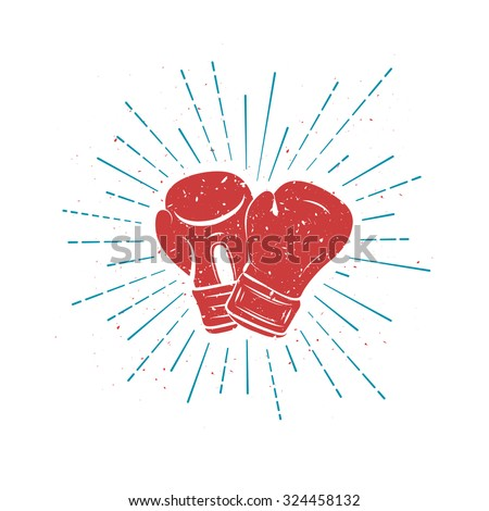 vintage red boxing gloves blue rays stock vector royalty free