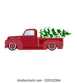 Vintage red car with Christmas tree. Christmas picture. Red pickup.