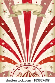 Vintage red circus poster. A vintage circus background with red sunbeams
