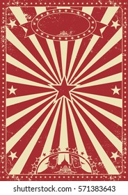 Vintage red circus poster with sunbeams for your entertainment