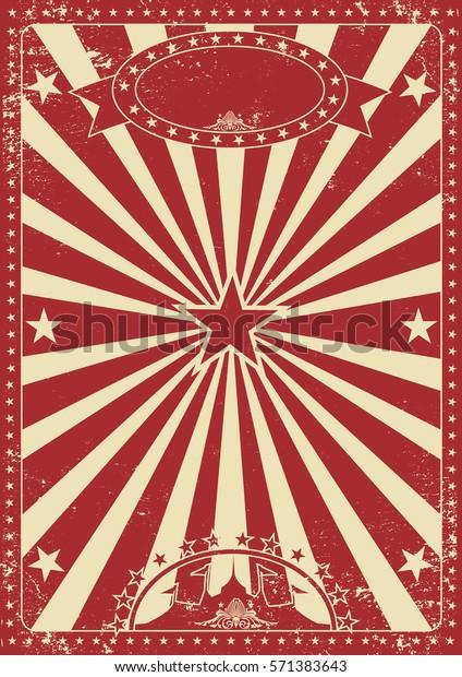 Affiche de cirque rouge vintage avec poutres de soleil pour votre divertissement