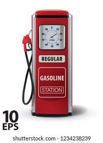 Vintage red gasoline pump. Vector 3d illustration