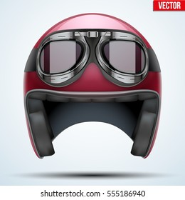 Vintage red motorcycle classic helmet with goggles. Transportation industry. Vector illustration isolated on background,