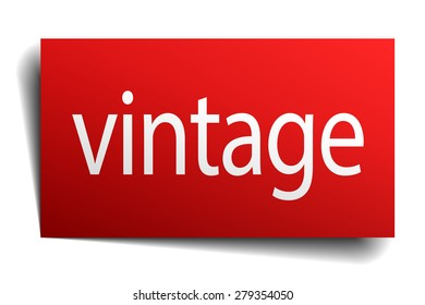 vintage red paper sign on white background
