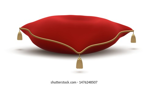 Vintage Red Pillow with Gold Tassels