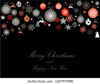 Vintage red, pink and silver Christmas frame with elements, snow on black background. EPS10 vector file. Snowflakes, stars with text Merry Christmas. Frame for a Christmas card