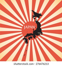 vintage Red rising sun or sun ray,sun burst and japan map vector design