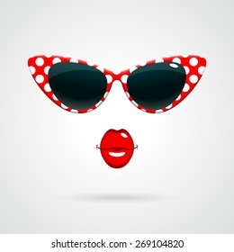 Vintage red-and-white polka dots sunglasses, bright red kissing lips. Fashion concept.