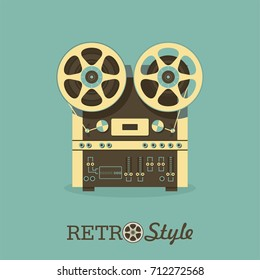 Vintage reel to reel tape recorder. Illustration in retro style.
