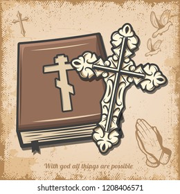 Vintage religious template with cross bible book doves and prayer hands on old paper background vector illustration