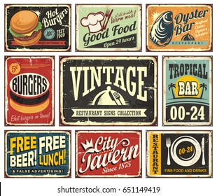 Vintage restaurant and cafe bar signs collection. Vector illustration.