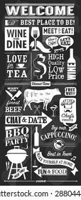Vintage restaurant chalkboard items