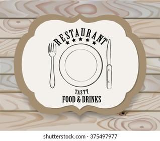 Vintage restaurant logo,  emblem.Restaurant Sign,Vintage   Design Template on wooden background