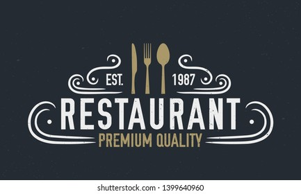 Vintage restaurant logo template. Knife, fork and spoon. Vintage poster for restaurant. Vector illustration with grunge texture.