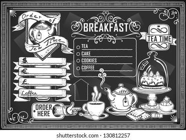 Vintage Restaurant Menu Blackboard. Breakfast Restaurant Chalk Board Menu.  Retro Breakfast Menu Restaurant.Street Food Shop Blackboard.Old Pub Bar Vintage Board Background Infographic Vector Image