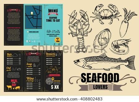 vintage restaurant menu design pamphlet vector stock vector royalty