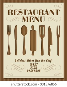 Vintage restaurant menu front page with kitchen tools and ornaments on paperboard background vector illustration