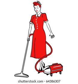 Vintage or retro 1950s style illustration of a housekeeper vacuuming a floor.