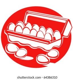 Vintage or retro 1950s style illustration of a carton of dairy eggs.