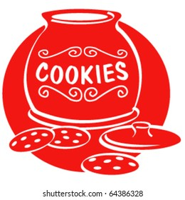Vintage or retro 1950s style illustration of a cookie jar and cookies.