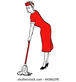 Vintage or retro 1950s style woman or girl housekeeper mopping the floor with a mop.