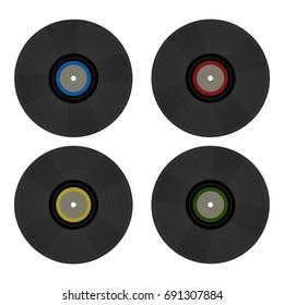 Vintage retro 80's vector vinyl records on white background. Nostalgia 80s