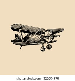 Vintage retro airplane logo. Vector hand sketched aviation illustration in engraving style for poster, card etc.