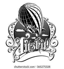 Vintage Retro airship into the air in the box with the inscription vector illustration