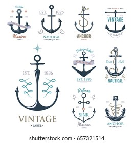 Vintage retro anchor badge vector sign sea ocean graphic element nautical anchorage symbol illustration