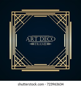 Vintage retro art deco frame with text and golden gradient. Template for design. Vector illustration eps10