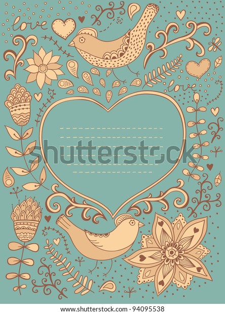 Vintage retro background with floral ornament and heart in the middle.You can  design cards, notebook cover and so on. Floral ornament heart shape with place for your text. Valentine's day background.