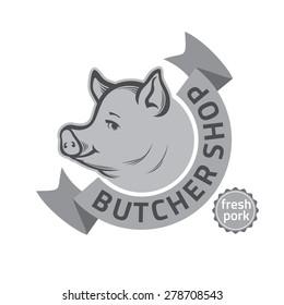 vintage retro badge, label or logo design templates for butcher shop