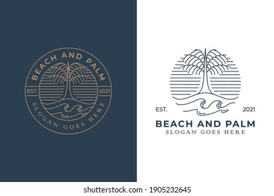 vintage retro badge logo of beach palm for vacation, summer, holiday, traveler, fresh coconut with two versions