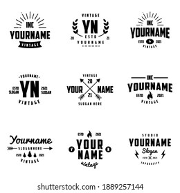 Vintage retro badges or logotypes set. Vector design elements, corporate signs, logos, identity, labels, badges and objects.