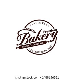 Vintage Retro Bakery Logo Badges And Labels Stock Vector