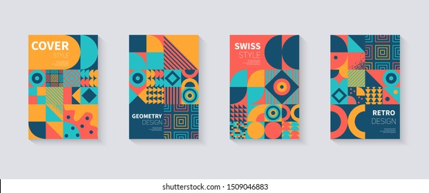 Vintage retro bauhaus design vector covers set. Swiss style colorful geometric compositions for book covers, posters, flyers, magazines, business annual reports, music albums