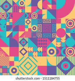 Vintage retro bauhaus design vector seamless pattern. Swiss style colorful 70s geometric composition. Musical poster, brochure, magazine cover, textile design
