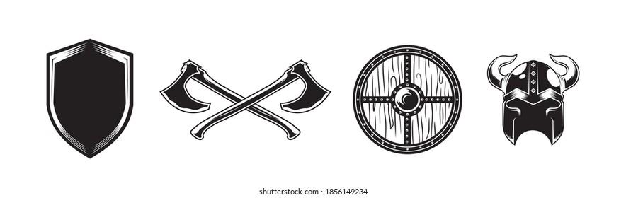 vintage retro black and white of viking shield axes war helmet vector illustration