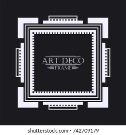 Vintage retro border and frame in Art Deco style. Template for your design. Vector illustration eps10