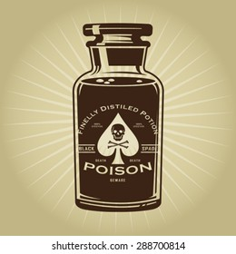 Vintage Retro Bottle of Poison Illustration