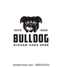 Vintage retro bulldog logo vector icon illustration on white background