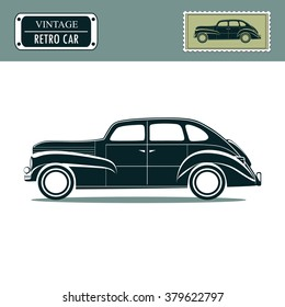 Vintage retro car, classic garage sign, oldtimers collection. Vector illustration background. can be used for design, invitations card.