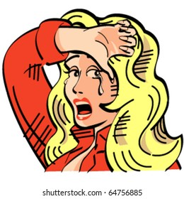 Vintage or retro cartoon cowgirl with a sad expression on her face and crying in sixties pop art style.
