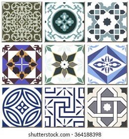 Vintage retro ceramic tile pattern set collection 020 Antique retro ceramic tile pattern set collection can be used for wallpaper, web page background, surface textures.