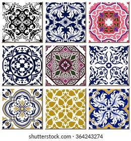 Vintage retro ceramic tile pattern set collection 030 Antique retro ceramic tile pattern set collection can be used for wallpaper, web page background, surface textures.