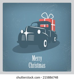 Vintage retro Christmas card design with old car and grunge background. Eps10 vector illustration.