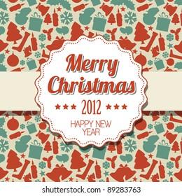 Vintage retro Christmas label on seasonal pattern